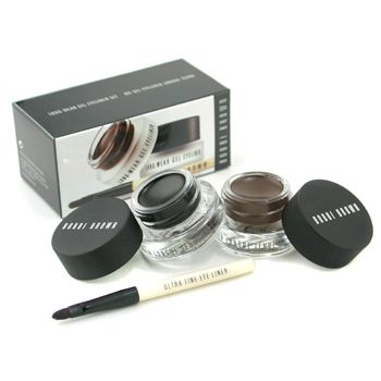 Long Wear Gel Eyeliner Duo: 2x Gel Eyeliner 3g (Black Ink, Sepia Ink) + Mini Ultra Fine Eye Liner Brush